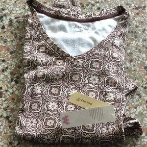 New ST. JOHN's BAY T-shirt top brown cream plus 3x